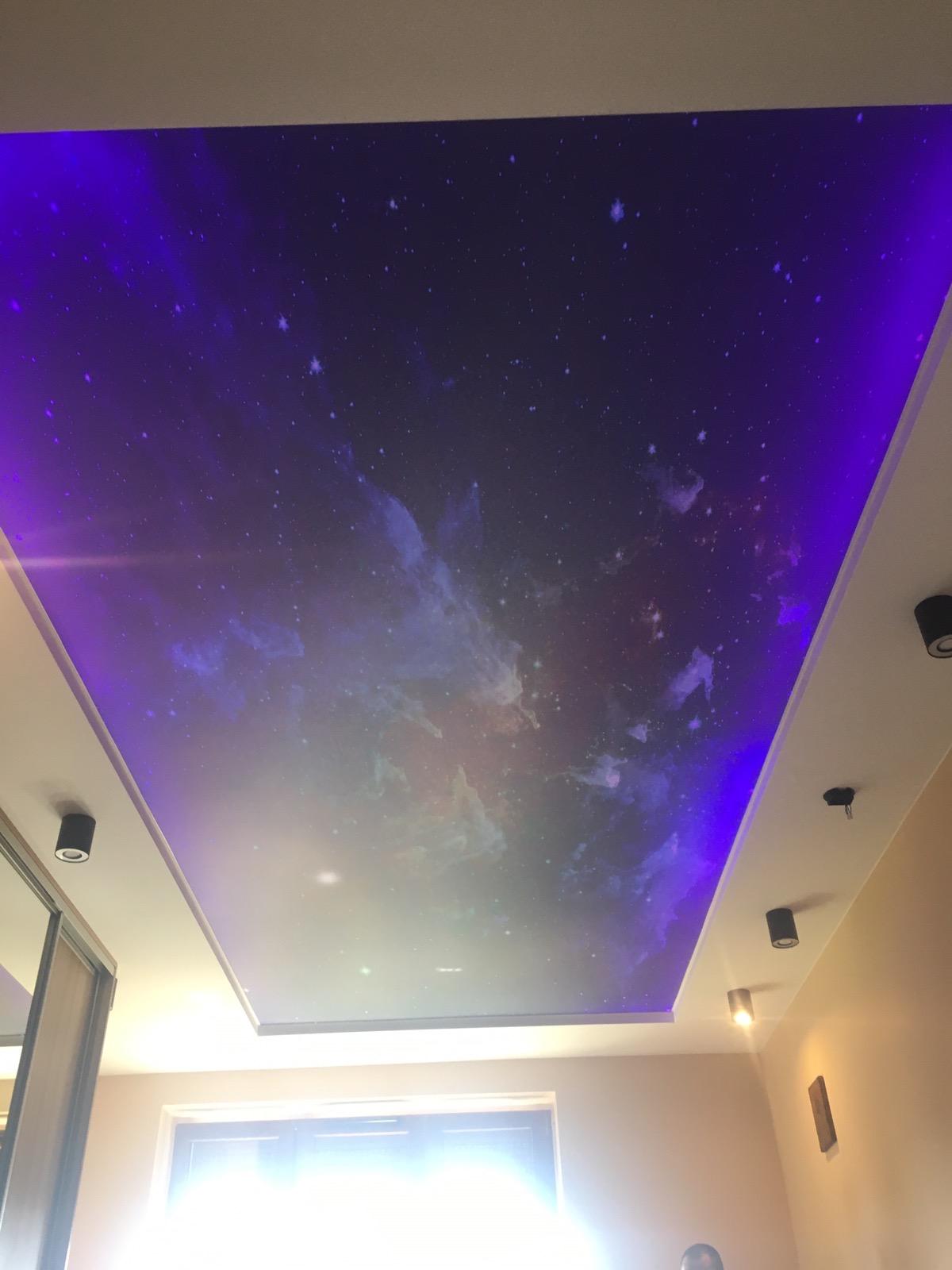 sufity napinane nadruk transparent galaktyka na suficie